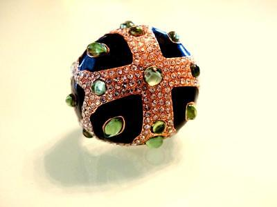 Rarest Vtg Early Jb Look Of Fine Couture Gripoix Cabs Massive Maltese Cross Ring