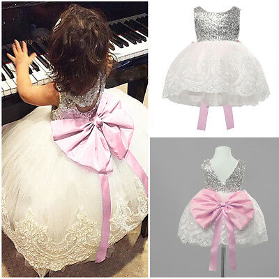 US Stock Kids Girls Chiffon Lace Tutu Party Dress Bridesmaid Pageant Gown Formal