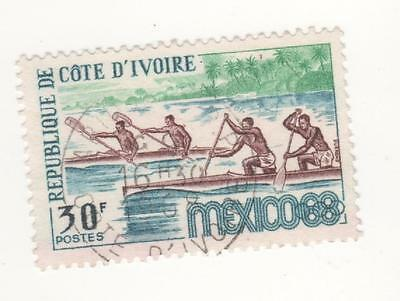 1968 IVORY COAST  30f. Olympic Games, Mexico stamp - CANOEING SG#307 Used VFU