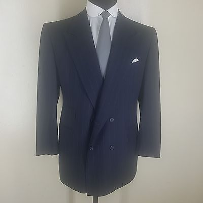 *alan Flusser*bespoke Double Breasted Suit 6 Btn. 2 Vents Navy Pinstriped 44 Reg