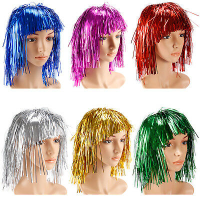 Perruque Metal Unisexe Tinsel Wigs Soiree Deguisee Disco Halloween Carnaval 70s