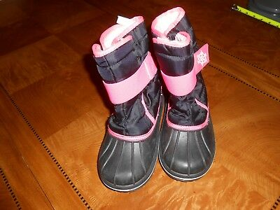 The Children's Place Black/pink Winter Snow Boots Toddler Girls - 11 - Euc!
