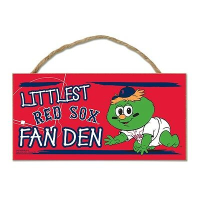"Boston Red Sox Littlest Fan 5""x10"" Fan Cave Wood Sign Authentic MLB Wall Decor"
