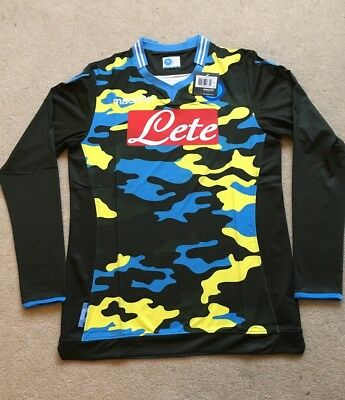 Napoli Camouflage Shirt BNWT - Rare Long Sleeve - Official Macron 2014