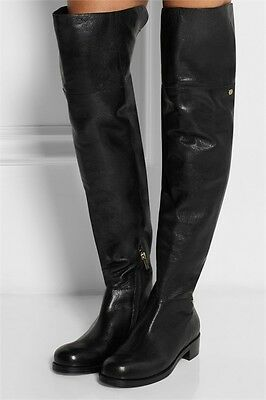5bf0609e38f  1495 Jimmy Choo Deron Grain Leather Over-The-Knee Boots Black Bootie 36.5-