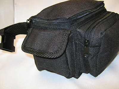 Heavy Duty 4 Pocket Black Canvas Fanny Pack With Hd Snap Buckle L@@k
