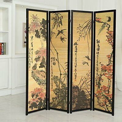 Room Divider Screen 4 Panel Folding Parion Freestanding Wood Frame Furniture