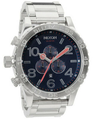 New Authentic wBox NIXON Men Steel Watch 51-30 Chronograph Navy Blue A083-307
