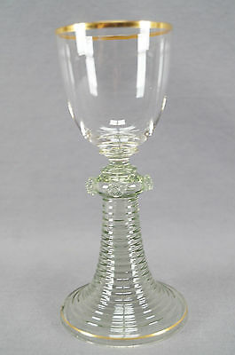 Antique Moser Pale Green & Clear Crystal Roemer Wine Glass With Gold Gilt