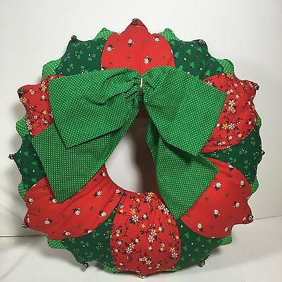 Handmade Fabric Christmas Wreath Stuffed Red Green Jingle Bells Holiday Decor