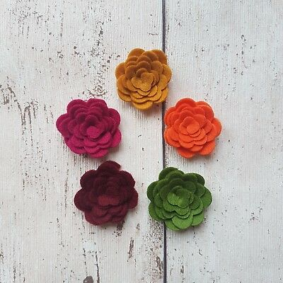 Autumn Felt Flowers, Die cut Flowers, Die cut felt roses, 3d Felt flowers, Craft