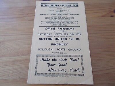 Sutton v Finchley  programme dated 9-9-1950.      (F772)