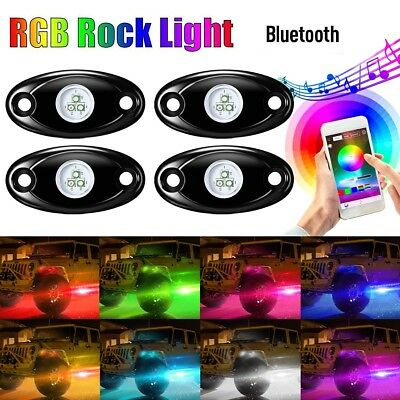 4 Pods RGB LED Rock Light Kits, AMBOTHER Car Underglow Neon Underbody Atmosphere