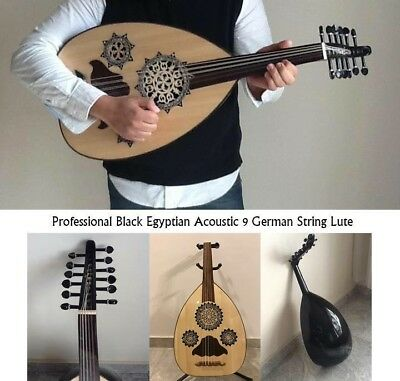 Egyptian Black Professional Acoustic 9 German String Lute (Oud)