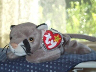 TY beanie baby babies Cat Canyon Cougar Brown 5-29-1998 retired mint wild cat