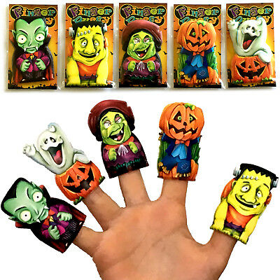5 x HALLOWEEN FINGER PUPPET PARTY BAG FILLERS BOYS GIRLS KIDS TRICK TREAT WITCH
