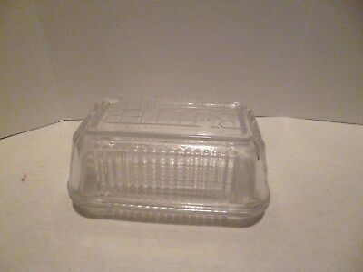 Vintage? Clear Glass Ribbed Butter Dish