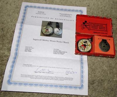 """Ex!boxed Set:disney 1934 Ingersoll""""mickey Mouse Pocket Watch""""-Detail Service+Coa"""