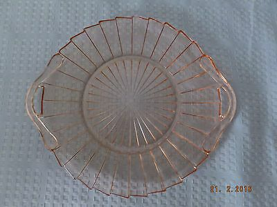 Jeannette Pink Depression Glass Sierra Pinwheel Handled Serving Tray