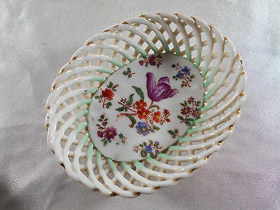 Sublime Panier / Coupe Vide Poche Decor Floral En Porcelaine De Paris