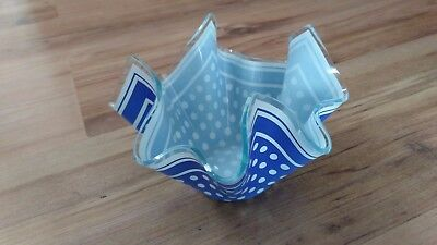 Vintage 1960s Chance Glass Handkerchief Vase Bowl Dish Blue White Spot VGC