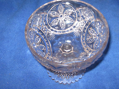 Antique Clear Pressed Glass Stemmed Candy,Nut  Or Serving Dish