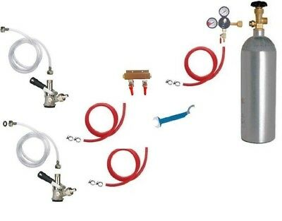 Kegerator Beer Jockey Box keg Double Faucet Draw Cooler Full Kit hoses coupler