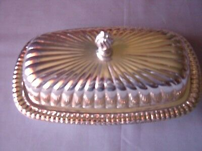 Silver Plate Butter Dish with inner glass dish. Never used.