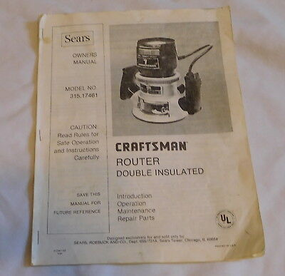 vintage Sears Craftsman Router Double Insulated Owners manual