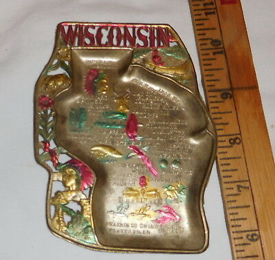 vintage Wisconsin State Decorative Plate Ashtray