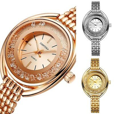 Women Luxury Crystalline Oval Quartz Bracelet Watch - 3 Colors