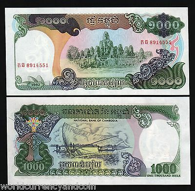 Cambodia 1000 Riels P39 1992 Bundle Angkor Boat Unc Un Issued Currency 100 Bills