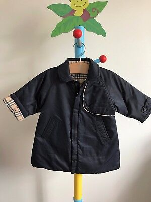Burberry Baby Boys or Girls Designer Winter Navy Quilted Padded Coat 9 months