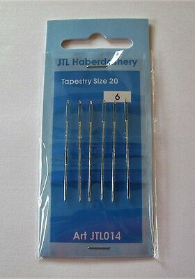 PACK of 6 TAPESTRY NEEDLES size 20