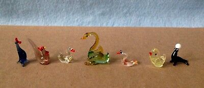 7 Vintage Hand Blown Art Glass Miniature Animals, Birds and Seal