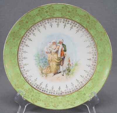 Unmarked Royal Vienna Style Courting Couple Plate With Pale Green Border C. 1900