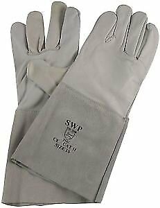 """Langley Pack of 3 pairs Tig Welders Glove - Grey Goatskin with 6"""" Leather Cuff"""