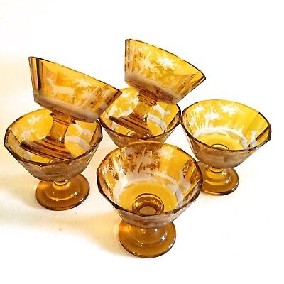 Antique Moser Set Of Six Large Wine Goblets Hand Carved Beautiful Amber Color.