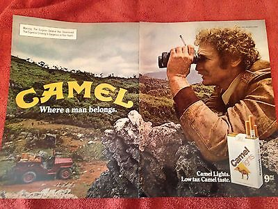 Vintage 2-page Camel Lights cigarette print ad Jeep adventure  Great to frame!