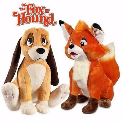 The FOX and the HOUND - DISNEY SOFT PLUSH TOY SET - TOD and COPPER   ** NEW **