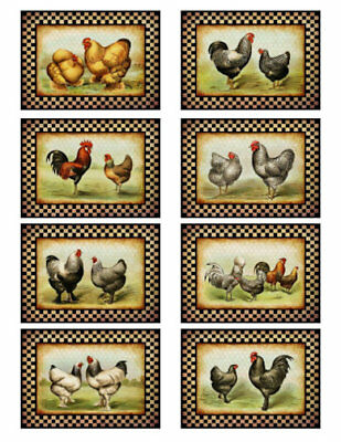 Vintage Grunge Primitive Checkered Roosters Labels Waterslide Decals BIR831