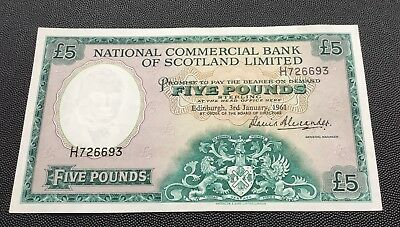 1961 National commercial bank of Scotland £5 note.