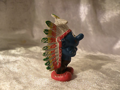 Smurf Indian Chief Smurf Schleich Peyo W. Germany 1981 Great Condition