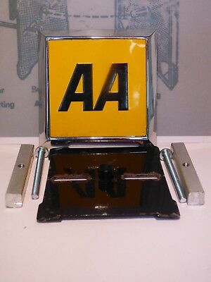 Classic Car Square Aa Badge With New Fixings & Copy Of Fixing Instructions