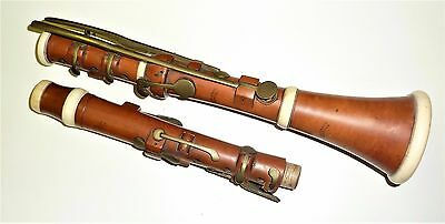 Antique 13 Brass keyed English Boxwood clarinet G-FRENCH 19 LAYSTALL ST LONDON