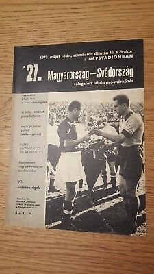 1970 Hungary vs Sweden in the Népstadion, Budapest: official programme!!!