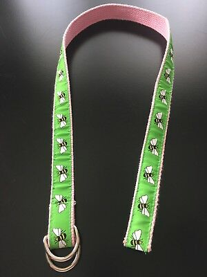 A. Tierney Belt For Girl's Pants With Bees In Green & Pink D-Rings Size Large