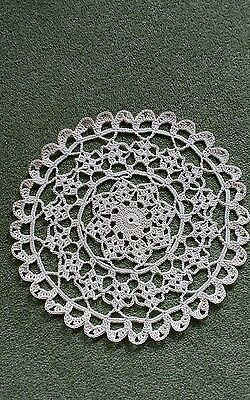 """Crochet Cotton 9"""" Doily hand made in Natural for Table or Porthole in narrowboat"""