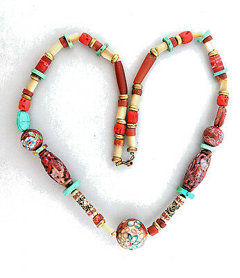 Antique Chinese Jade Necklace with Carved Coral Carnelian 22 inch