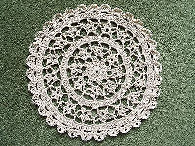 """Crochet Cotton 8"""" DOILY hand made in Natural for Table or Porthole in Narrowboat"""
